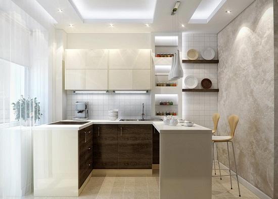 Кухонный гарнитур с подсветкой.