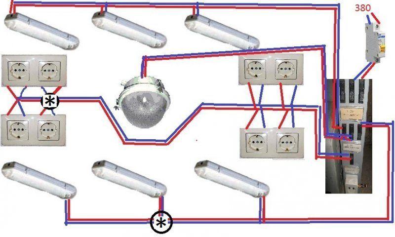 Принципиальная схема электропроводки гаража