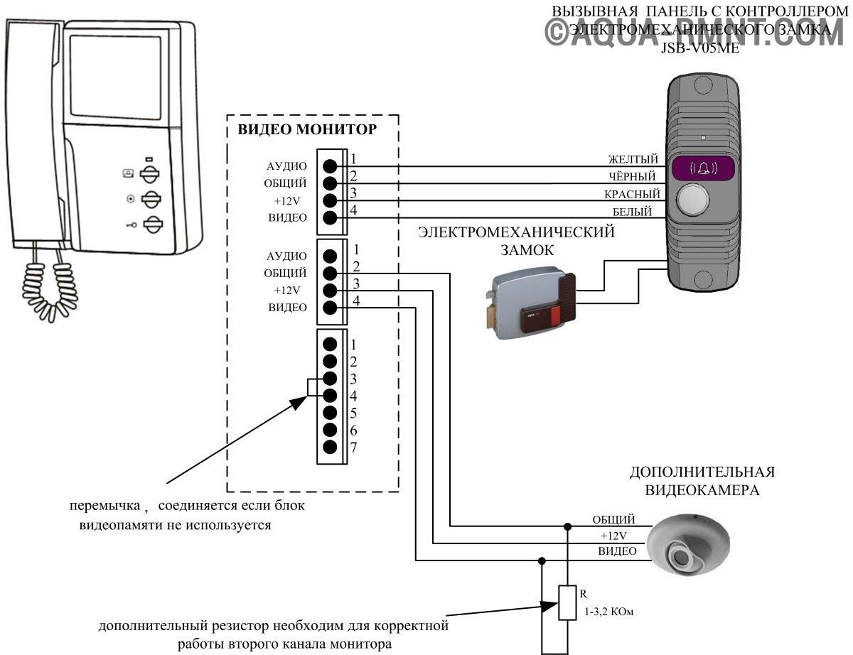 Схема подключения домофона Quantum QM-4HP