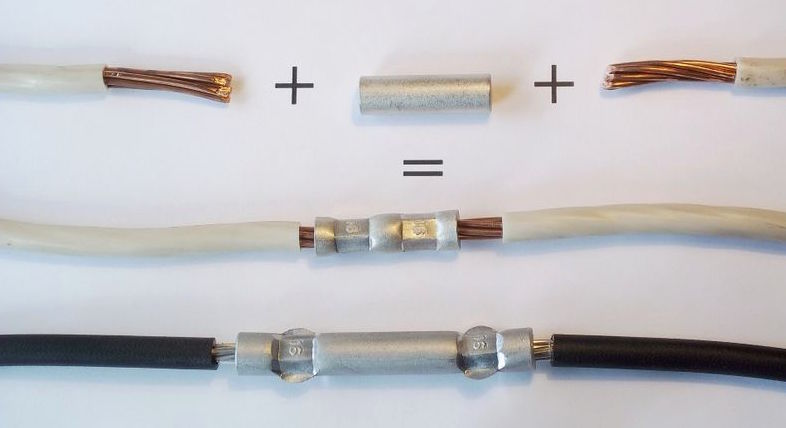 соединение двух проводов гильзой