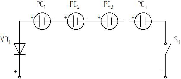 Схема подключения фотоэлементов в солнечной батарее