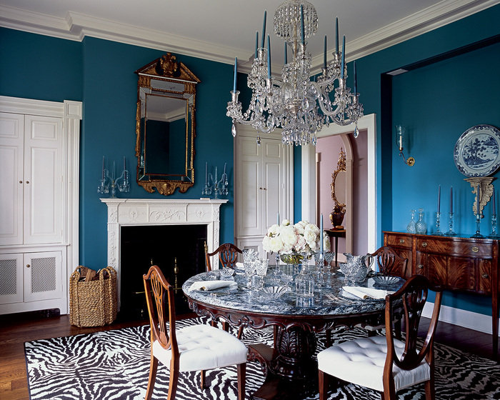 1350890628dining room Waterford Crystal chandelier 1840 marble topped indian colonial table