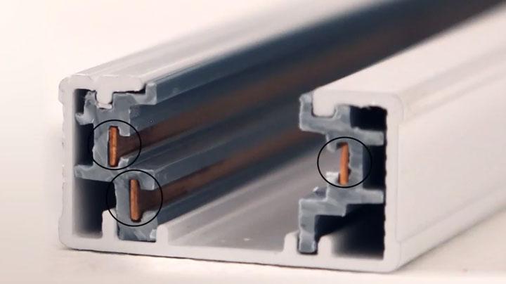 токопроводы внутри шинопровода трека