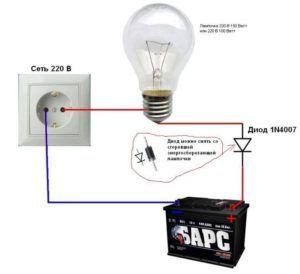 Зарядка аккумулятора при помощи лампы накаливания