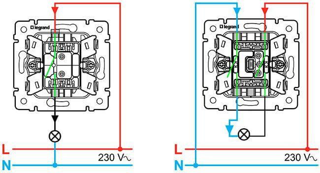 Принципиальная схема подключения однополюсного и двухполюсного одноклавишных выключателей