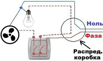 Схема подключения вентилятора к двухклавишному выключателю