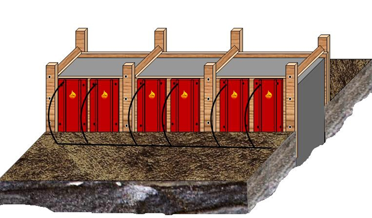 Типы элементов, их мощность и плотность распределения подбираются в соответствии с качеством бетонной смеси и погодных условий