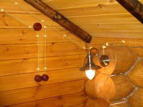 Проводка в стиле ретро в деревянном доме