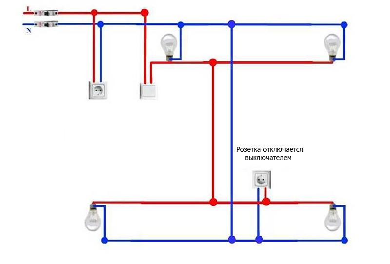Схема 1 прокладки проводов по стене