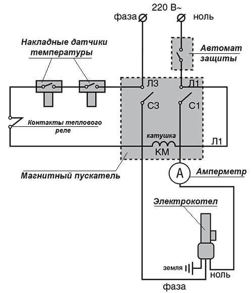 Схема автоматики электрообогревателя