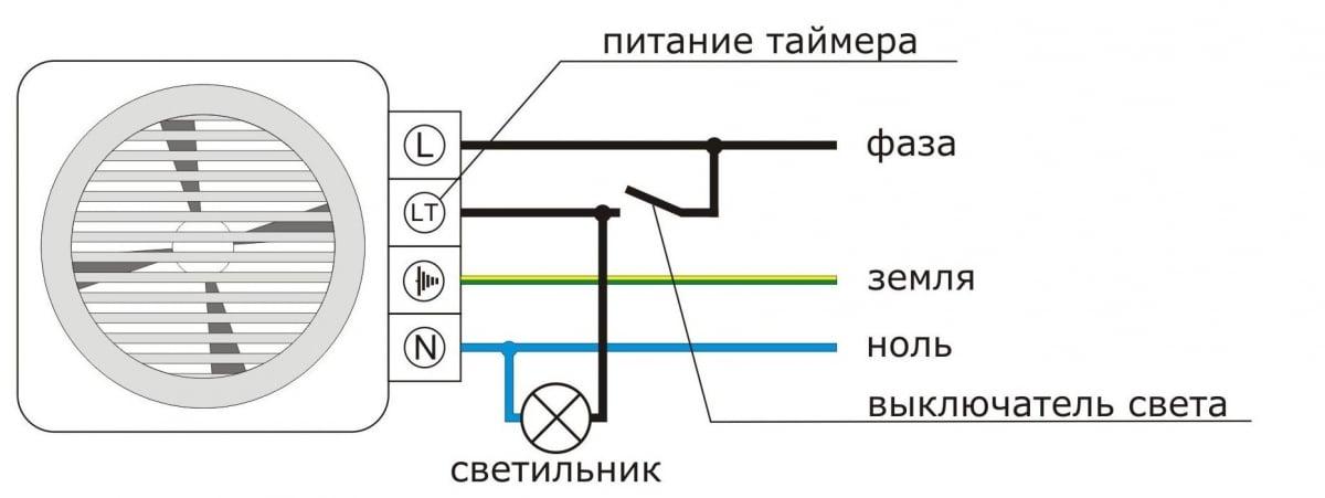 Схема подключения вентилятора с таймером к выключателю света