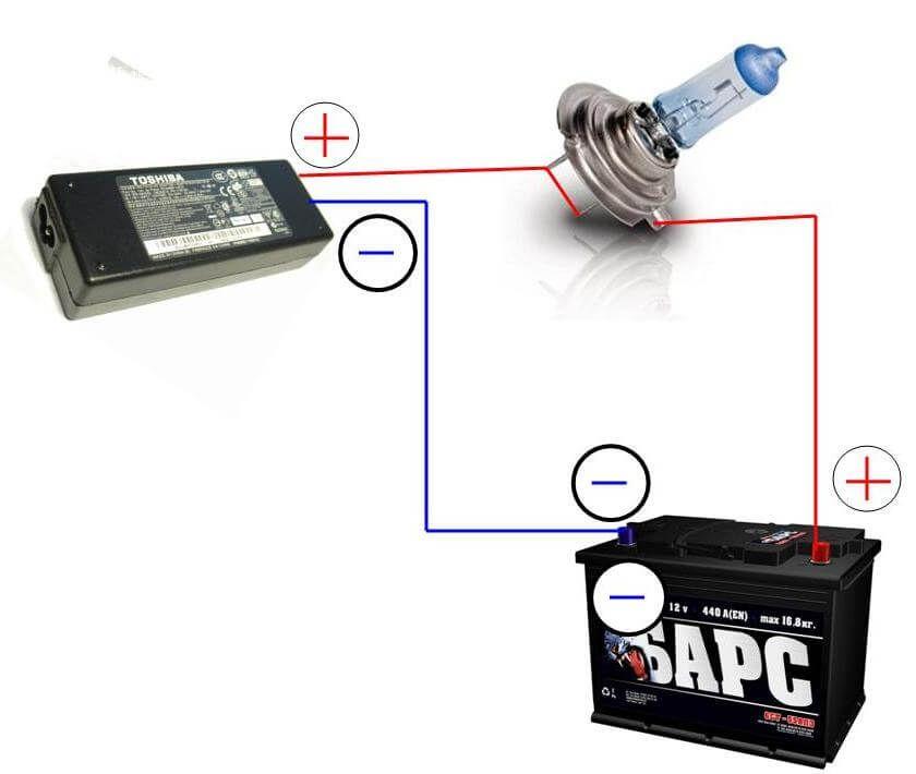 Зарядка аккумулятора при помощи лампочки и блока питания