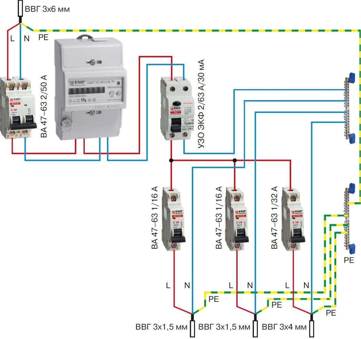 Схему подключения вводного автомата АВВ можно скачать и для удобства использования распечатать на принтере