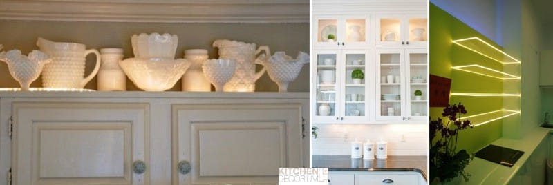 Декоративная подсветка стеклянных полок, витражных фасадов кухни