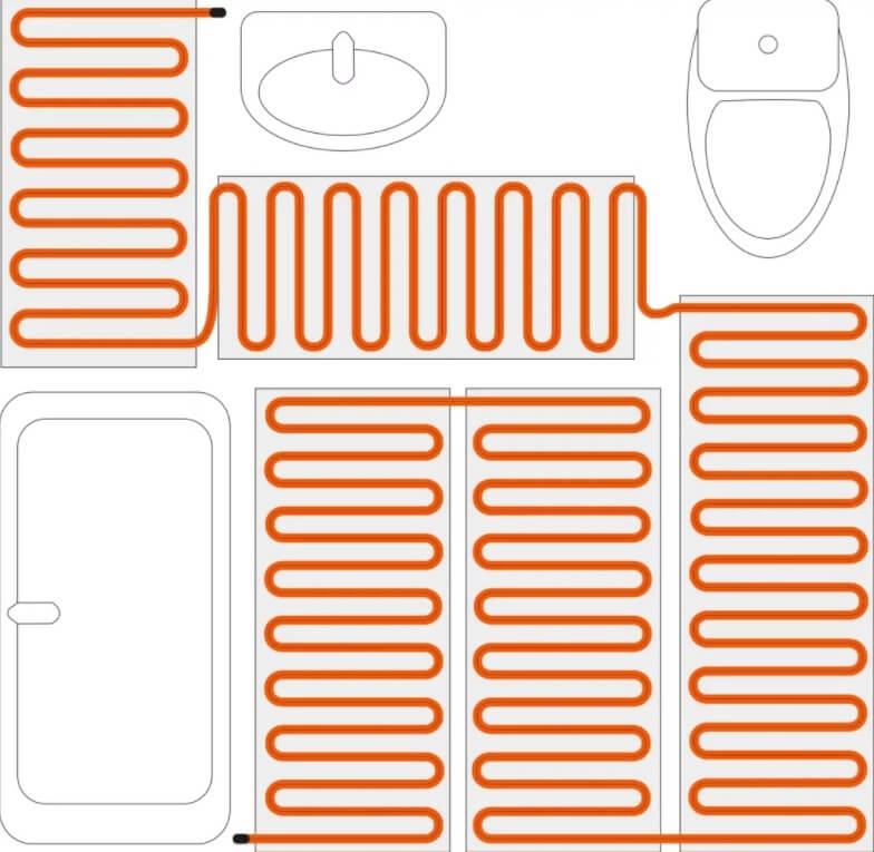 Пример схемы расположения теплоносителя в ванной комнате