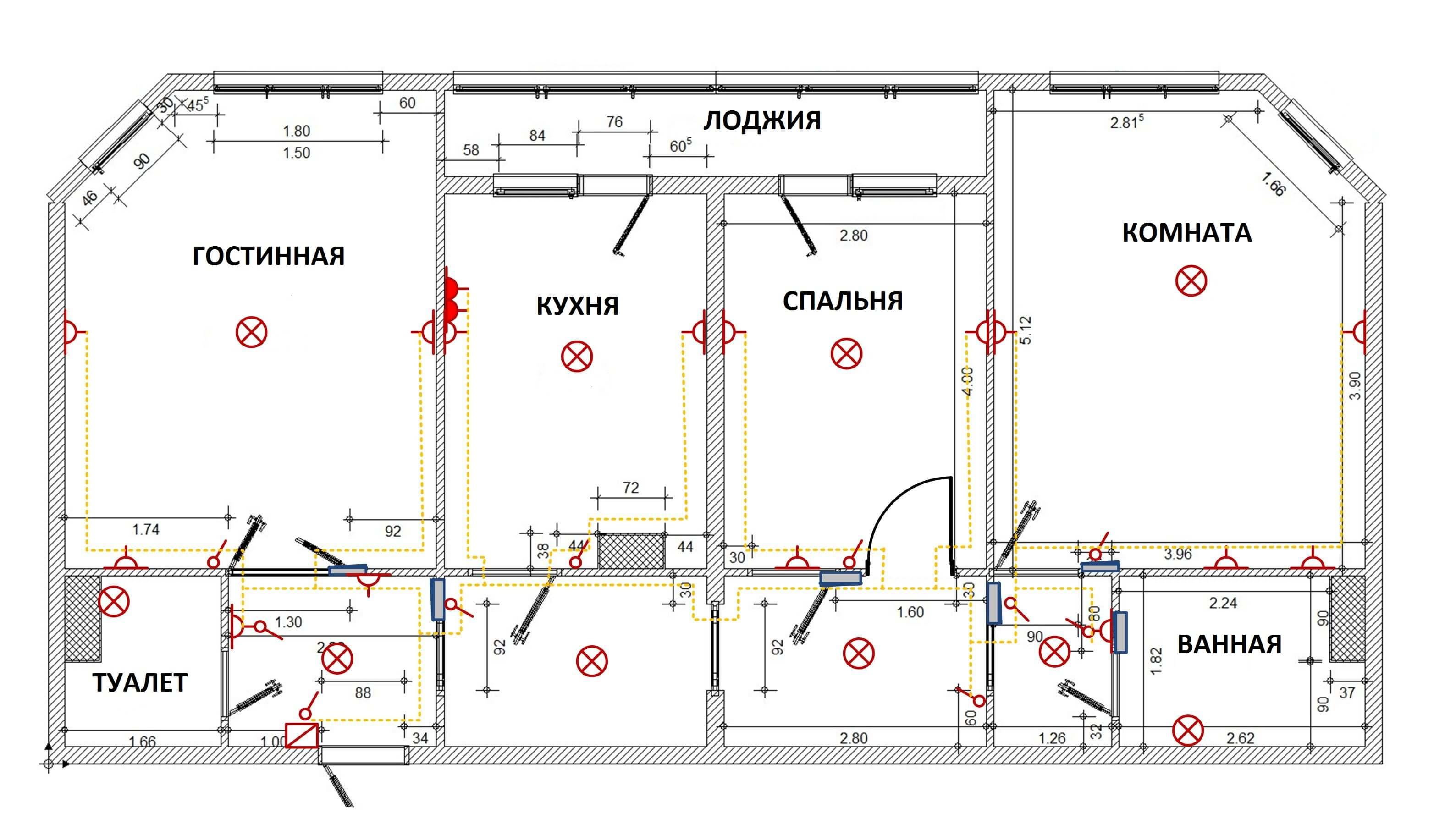 Схема трехкомнатной квартиры