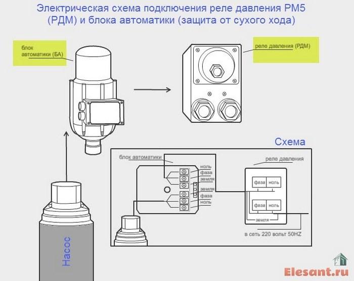 elektricheskaya skhema podklyucheniya rele davleniya RM5 RDM i bloka avtomatiki zashchita ot sukhogo khoda