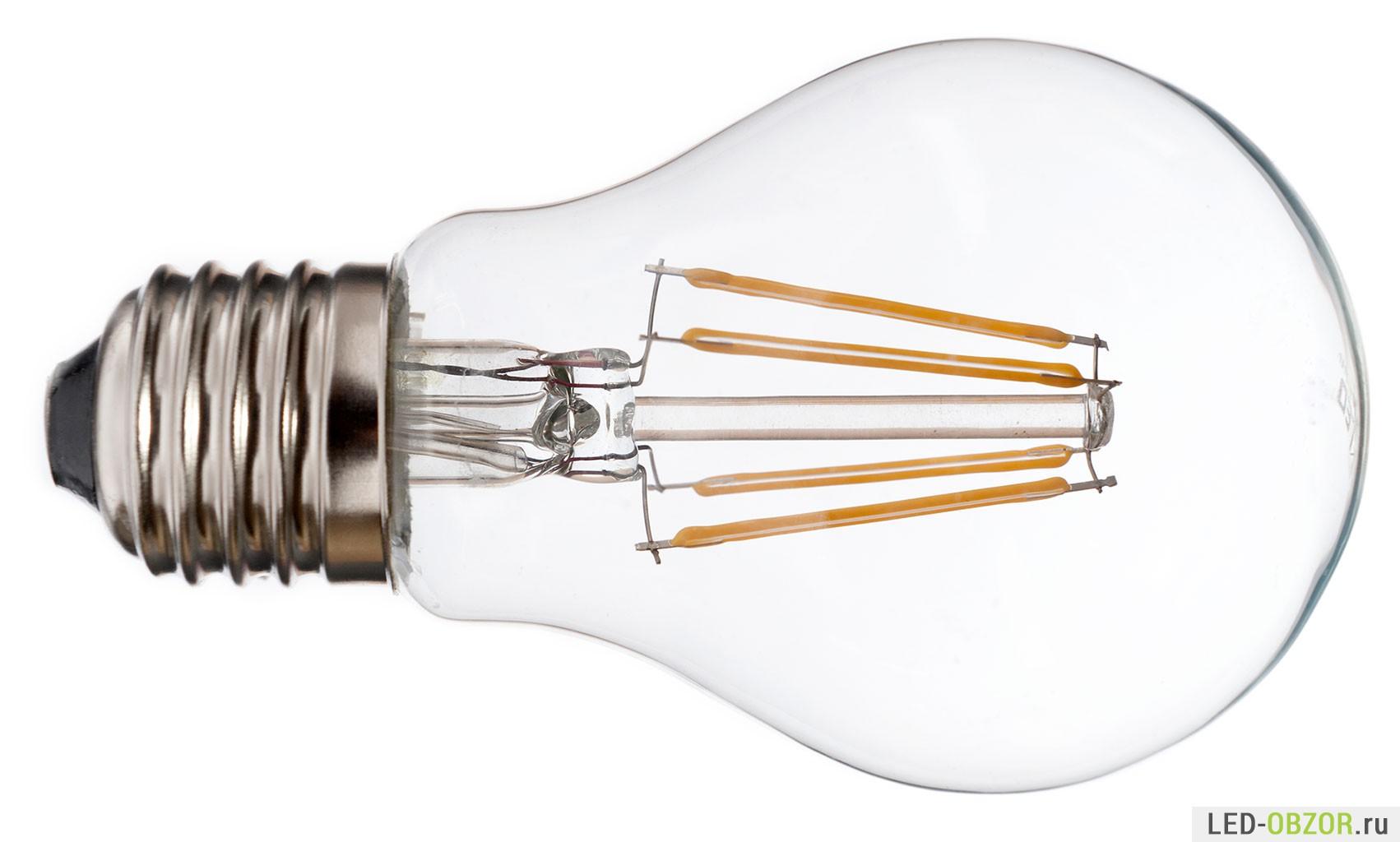 Пример Филамент лампы без ободка, в которой видимо нет драйвера