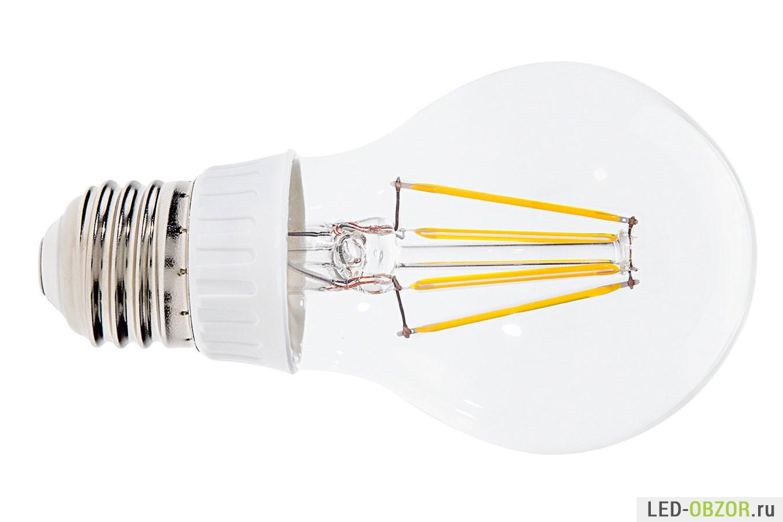 Пример филамент лампы с ободком из пластика, который закрывает драйвер
