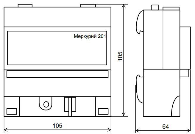 Габаритные размеры счётчика Меркурий 201