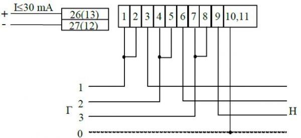 Одна из самых простых схем подключения, не требующая дополнительного электроизмерительного оборудования
