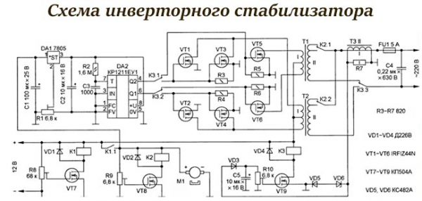 Вариант схемы инверторного стабилизатора напряжения