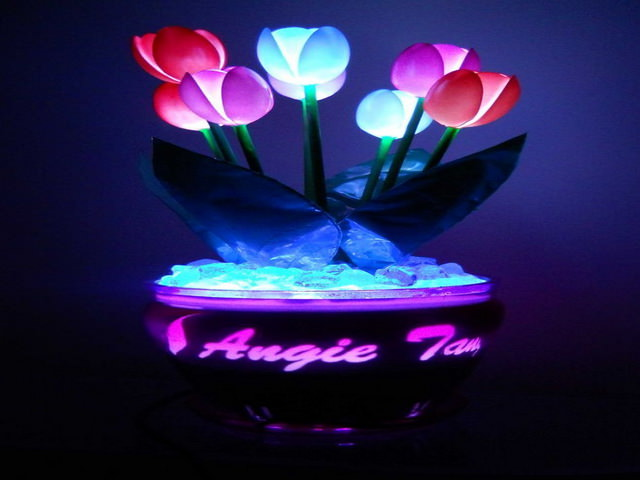осветительный прибор из пластиковых ложек