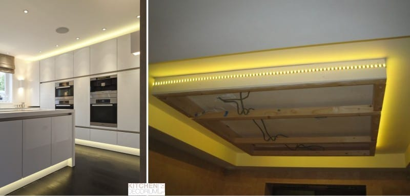 LED подсветка потолка кухни
