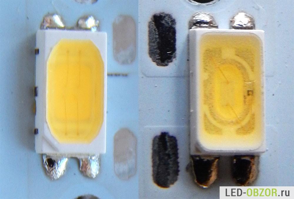 Пример светодиодов, слева новый, справа старый (2 года работы)