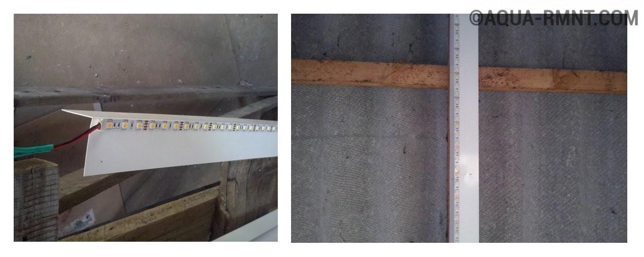 Лента приклеенная на уголок и закрепленная на балке