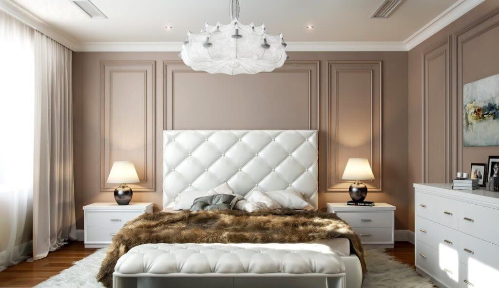 люстра модная в спальне