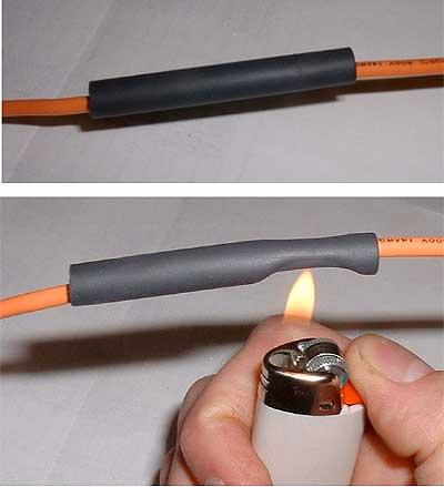 Фото: нагрев трубочки зажигалкой