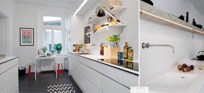 Нейтральное освещение на кухне - теплый белый цвет светодиодной ленты