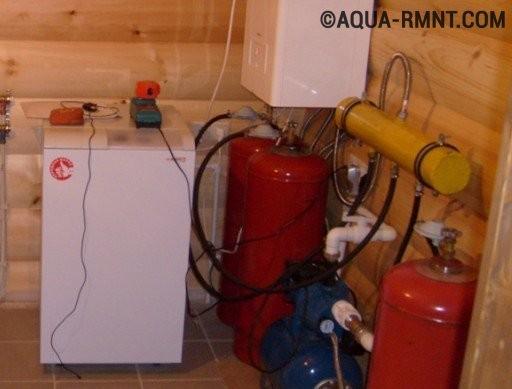 Газовые баллоны и отопительный котел в доме