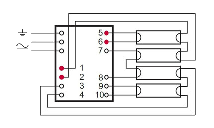 Подключение четырех ламп на ЭПРА