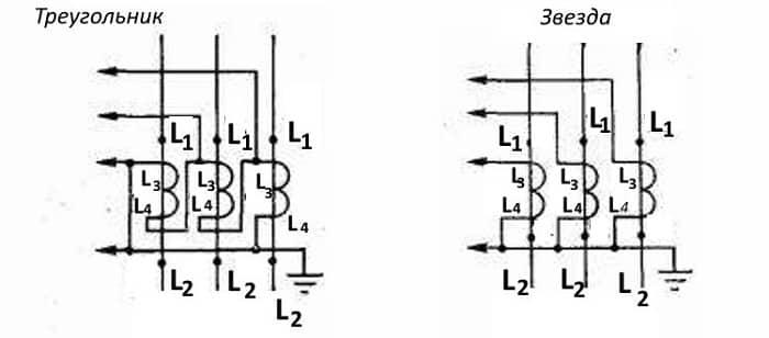 Подключение трехобмоточного ТТ «звездой» и «треугольником»