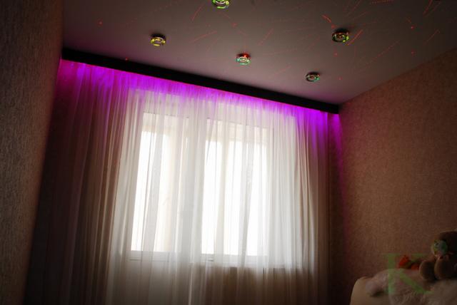 шторы в детской с подсветкой