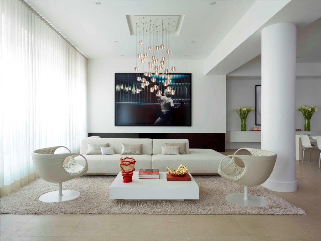 подвесные светильники в гостиной