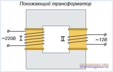 Схематичное изображение понижающего трансформатора