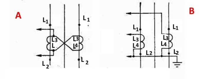 Пример как подключить ТТ на разность двух фаз (А) и неполной звездой (В)