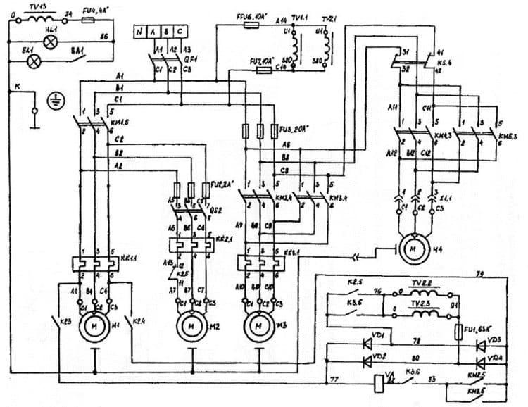 Пример принципиальной схемы фрезерного станка