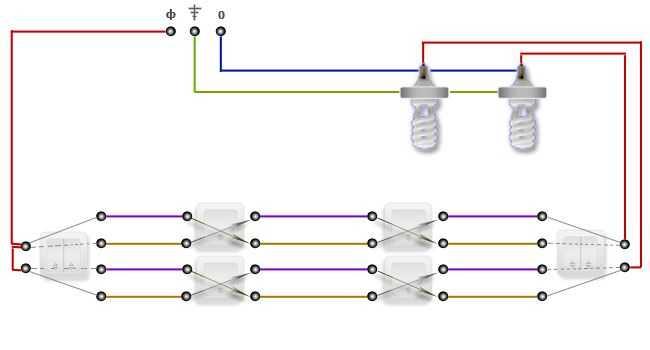 Как организовать управление двумя лампами из трех и более мест