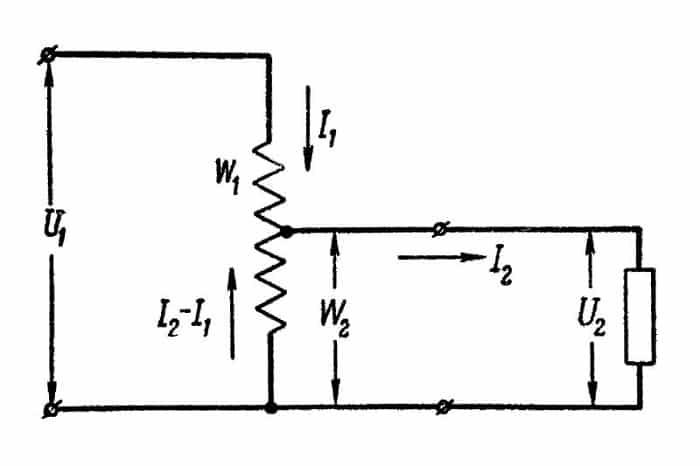 Схема понижающего автотрансформатора