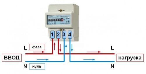 Схема электрического однофазного счетчика