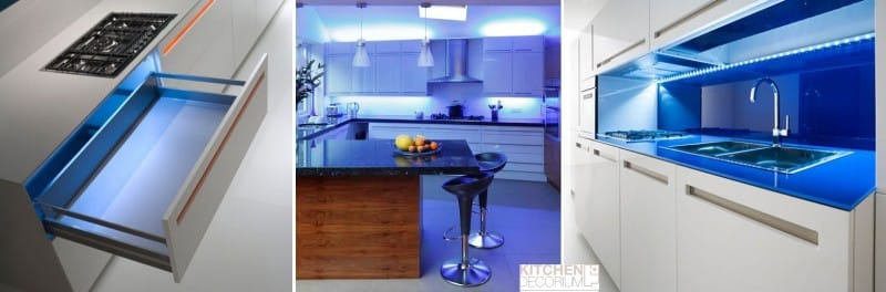 Синяя подсветка кухни