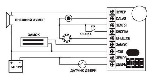 Схема подключения электромагнитного замка к контроллеру Z5R
