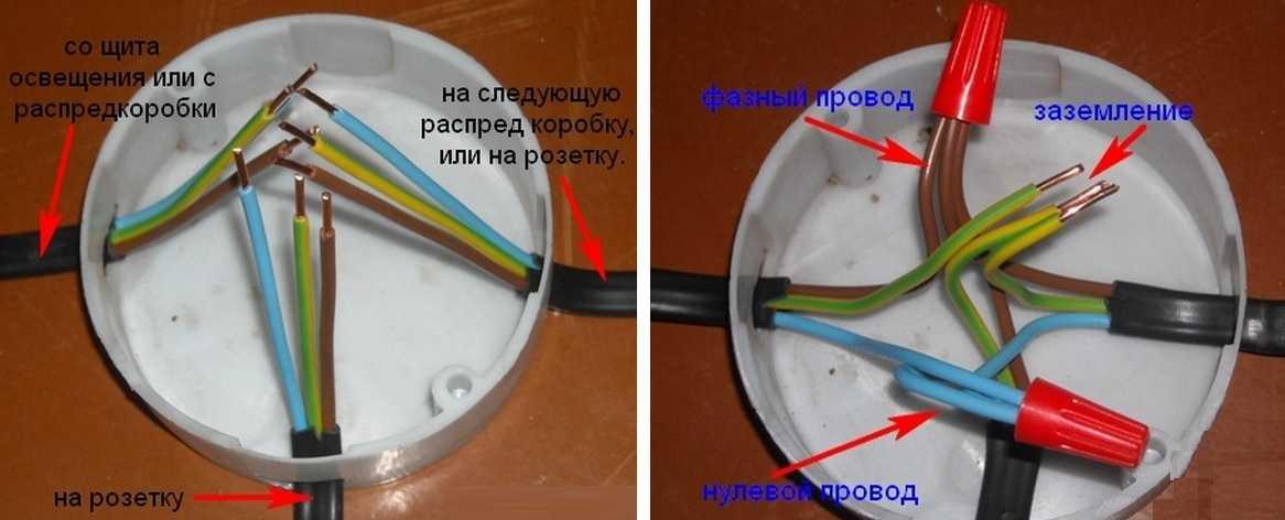 соединение проводов на розетку