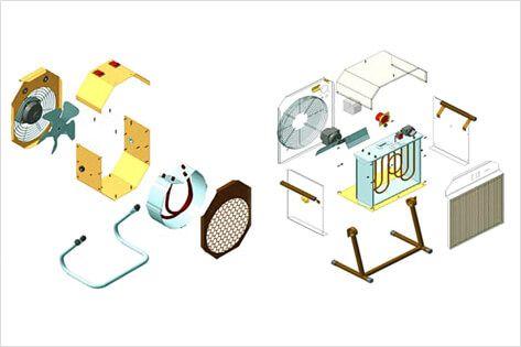 Составные элементы электрической тепловой пушки