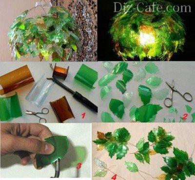 Светильник из пластиковых листиков