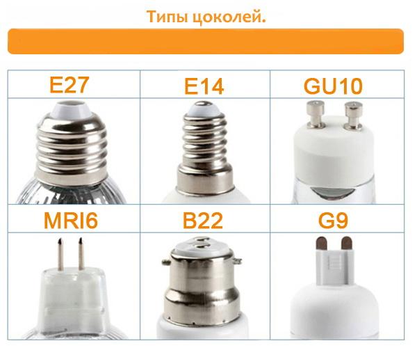 Основные типы цоколей энергосберегающих и светодиодных ламп